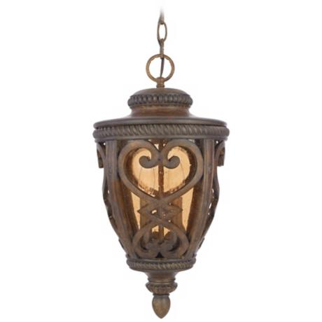 "French Quarter Antique Brown 19"" High Outdoor Hanging Light"