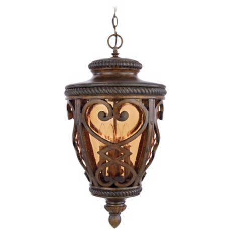 "French Quarter Antique Brown 26"" High Outdoor Hanging Light"