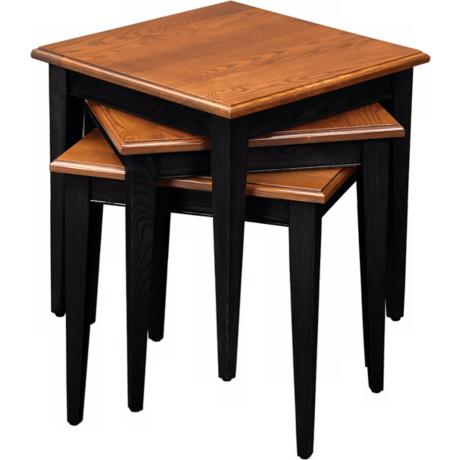 Favorite Finds Set of Oak and Black Stacking Tables