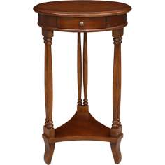 Favorite Finds Pecan Finish Round Twin Leg Table