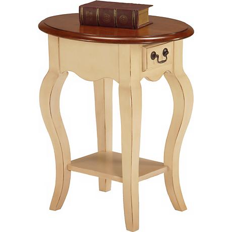 Favorite Finds Ivory Finish Oval Side Table