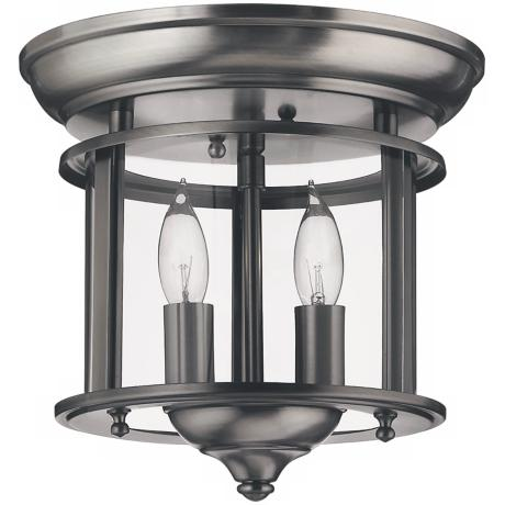 "Hinkley Gentry Collection Pewter 9"" Wide Ceiling Light"