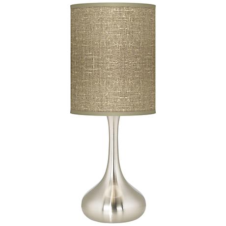 Burlap Print Giclee Kiss Table Lamp