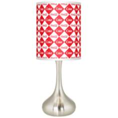 Coca Cola® Diamond Brushed Steel Finish Kiss Table Lamp