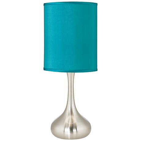 Teal Blue Faux Silk Kiss Table Lamp