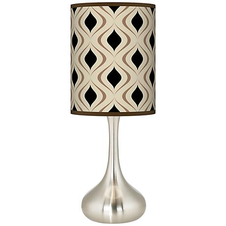 Oyster Gray Retro Lattice Giclee Kiss Table Lamp
