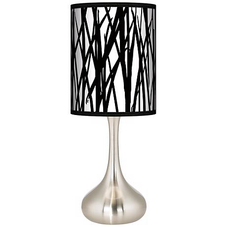 Black Jagged Stripes Giclee Kiss Table Lamp