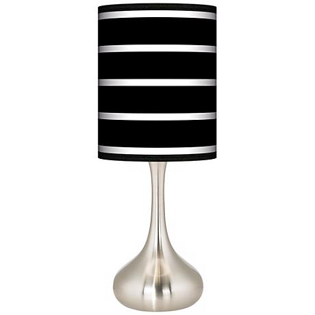 Bold Black Stripe Giclee Kiss Table Lamp