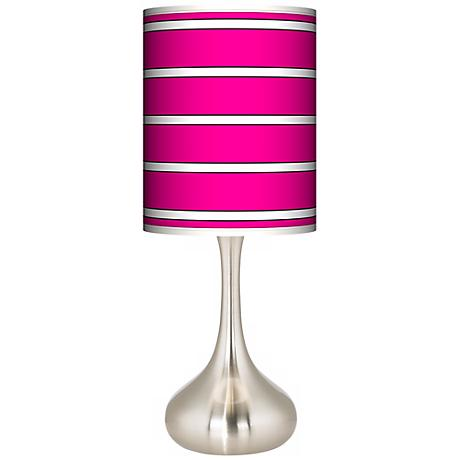 Bold Pink Stripe Giclee Kiss Table Lamp