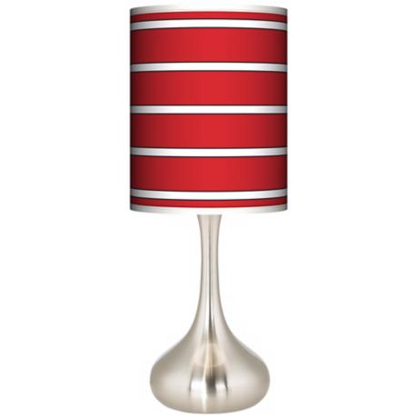 Bold Red Stripe Giclee Kiss Table Lamp