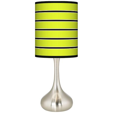 Bold Lime Green Stripe Giclee Kiss Table Lamp