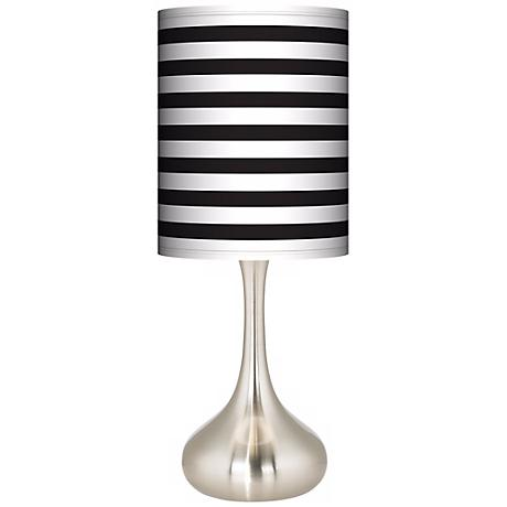 Black Horizontal Stripe Giclee Droplet Table Lamp