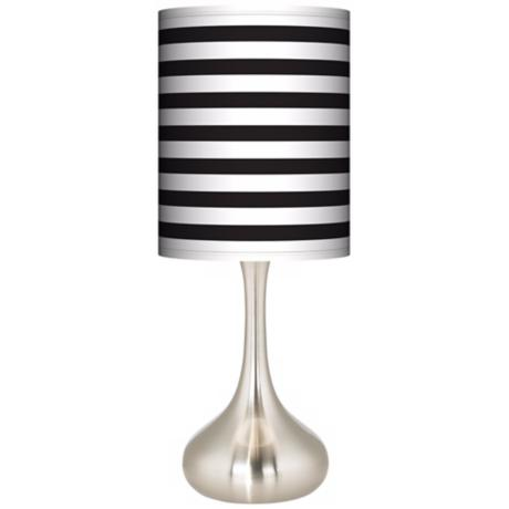 Black Horizontal Stripe Giclee Kiss Table Lamp