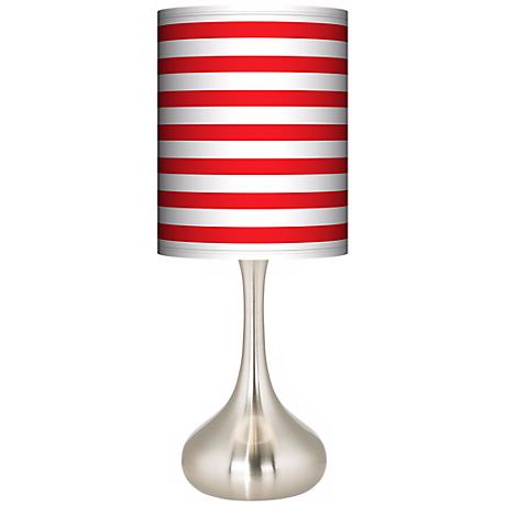 Red Horizontal Stripe Giclee Kiss Table Lamp