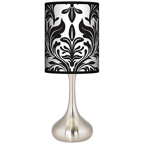 Black Tapestry Giclee Kiss Table Lamp