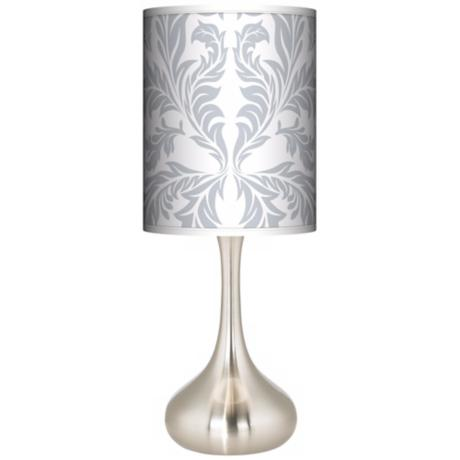 Silver Baroque Giclee Kiss Table Lamp