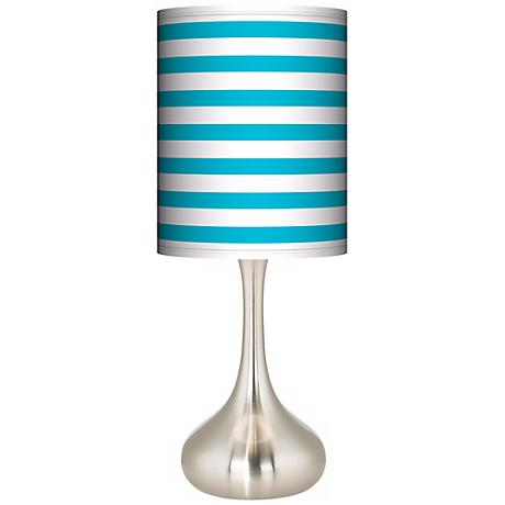 Aqua Horizontal Stripe Giclee Kiss Table Lamp