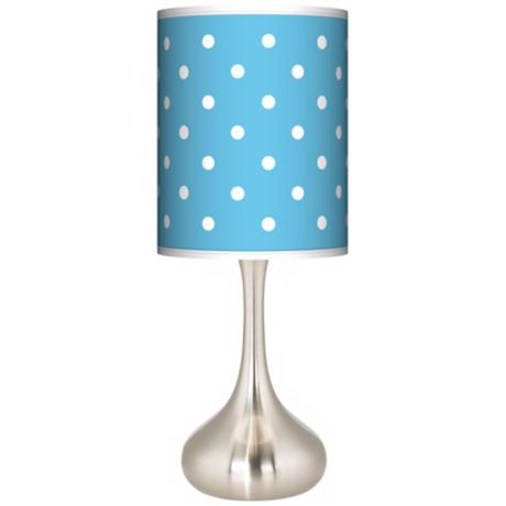 Mini Dots Aqua Giclee Kiss Table Lamp