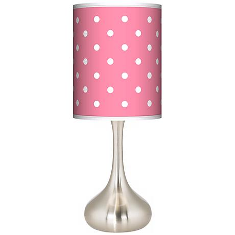 Mini Dots Pink Giclee Kiss Table Lamp