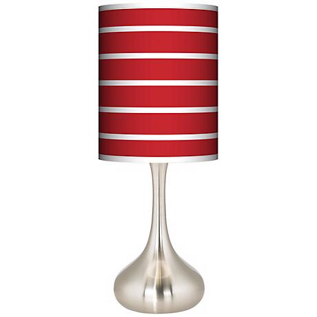 Vivid Red Stripes Giclee Kiss Table Lamp