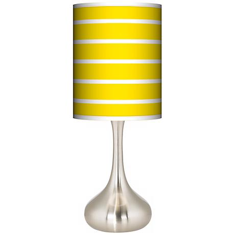 Vivid Yellow Stripes Giclee Kiss Table Lamp