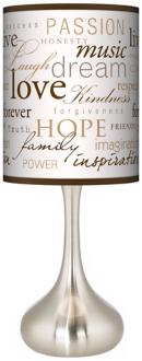 Typographic Inspirational Words Table Lamp