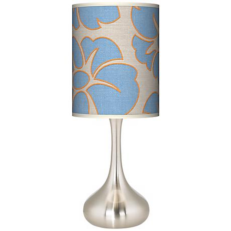 Floral Blue Silhouette Giclee Kiss Table Lamp