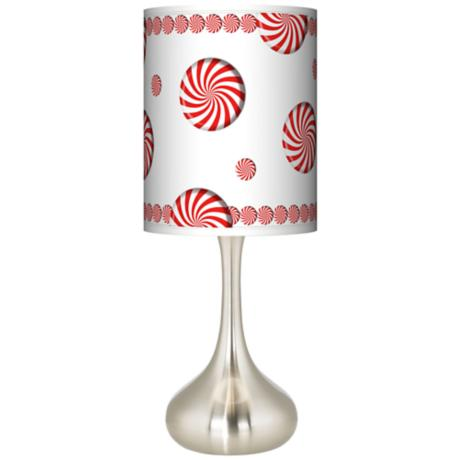 Peppermint Pinwheels Giclee Kiss Table Lamp