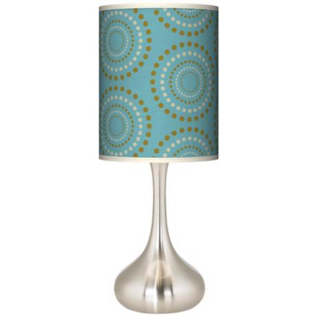 Blue Calliope Linen Giclee Pattern Kiss Table Lamp