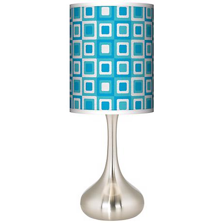Blue Boxes Linen Giclee Kiss Table Lamp