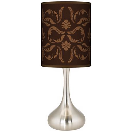 Mocha Flourish Linen Giclee Kiss Table Lamp