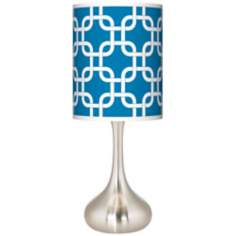Blue Lattice Giclee Kiss Table Lamp
