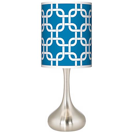 Blue Lattice Giclee Droplet Table Lamp