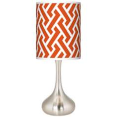 Red Brick Weave Giclee Kiss Table Lamp