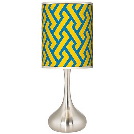 Yellow Brick Weave Giclee Kiss Table Lamp