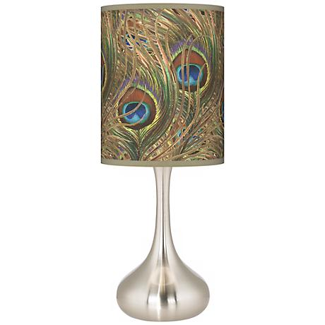 Iridescent Feather Giclee Kiss Table Lamp