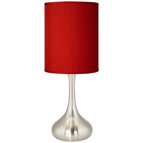 China Red Textured Silk Brushed Steel Kiss Table Lamp