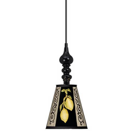"Lemon Scroll 7 1/2"" Wide Black Mini Pendant"