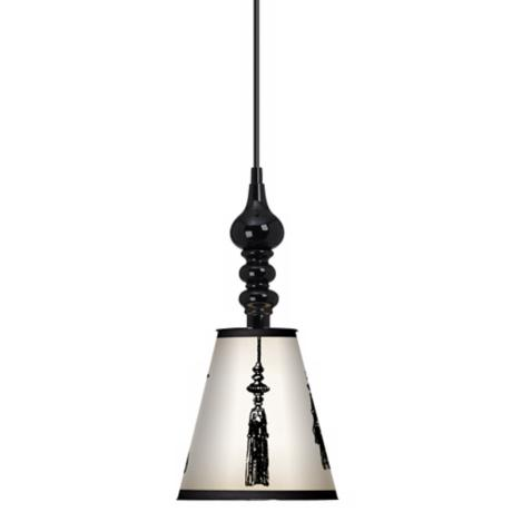 "Fringe 7 1/2"" Wide Black Mini Pendant"
