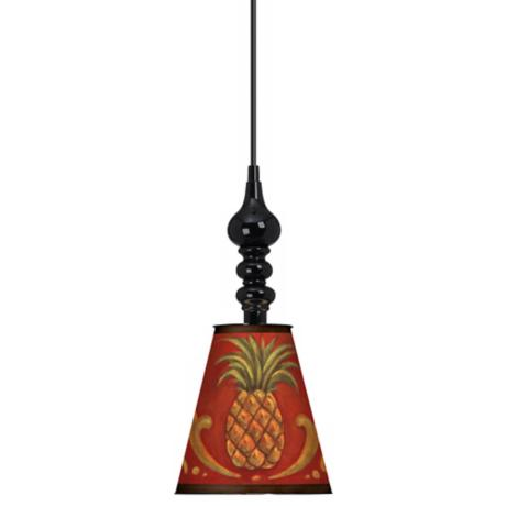 "Royal Pineapples 7 1/2"" Wide Black Mini Pendant"