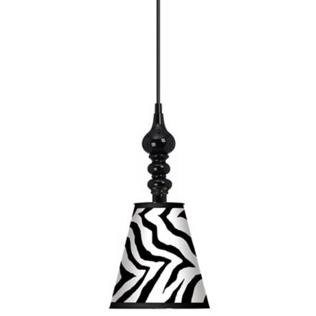 "Classic Zebra 7 1/2"" Wide Black Mini Pendant"
