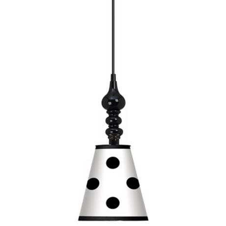 "Black Polka Dot 7 1/2"" Wide Black Mini Pendant"