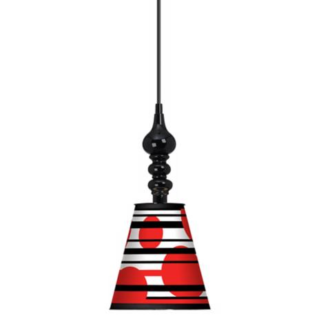 "Red Balls 7 1/2"" Wide Black Mini Pendant"