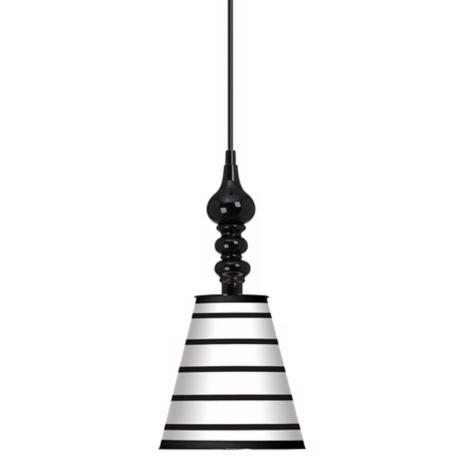 "Black Parallels On White 7 1/2"" Wide Black Mini Pendant"