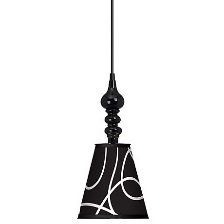 "Abstract Black 7 1/2"" Wide Black Mini Pendant"