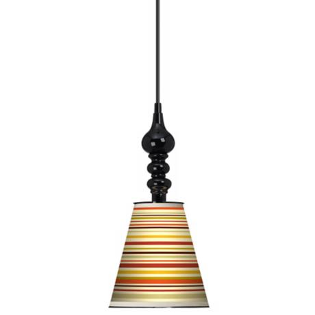 "Stacy Garcia Lemongrass Stripe 7 1/2"" Wide Black Pendant"