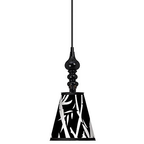 "Night Bamboo 7 1/2"" Wide Black Mini Pendant"