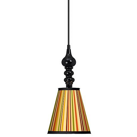 "Stacy Garcia Vertical Harvest Stripe 7 1/2"" Black Pendant"