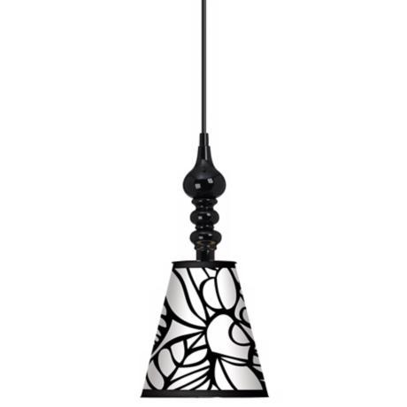 "Jungle Moon Giclee 7 1/2"" Wide Black Mini Pendant"