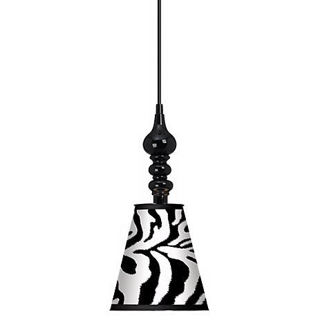 "Safari Zebra Giclee 7 1/2"" Wide Black Mini Pendant"